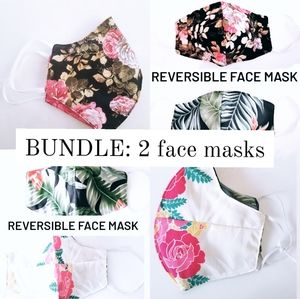 Handmade reversible face mask bundle (inc 2 masks)